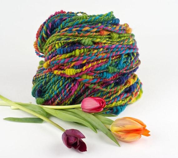 Handspun Art Yarn, Rainbow Beehive Yarn, Tulip Festival, by WoolWench
