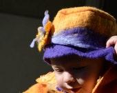 Nuno felted baby girl orange  purple hat