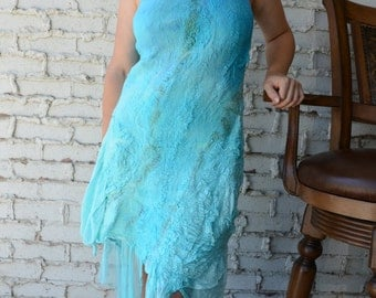 Unique Nuno felted  Summer Dress, Beach weddings, cruise