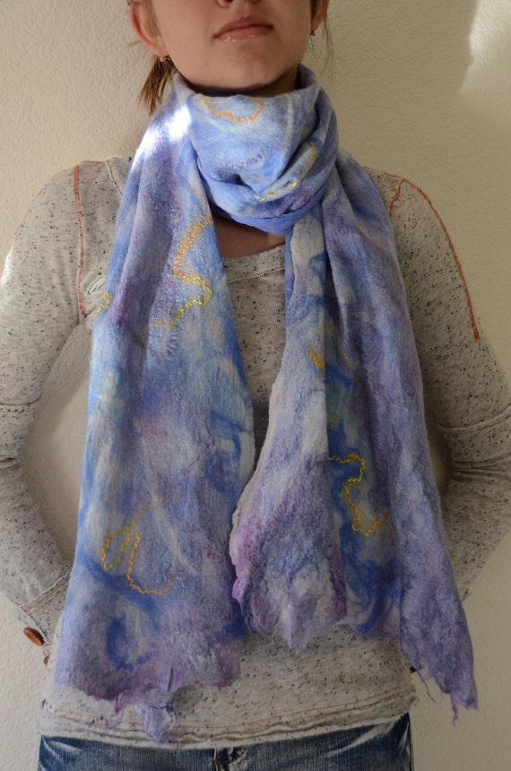 "OOAK, nuno felting blue scarf  ""Watercolor sky"""