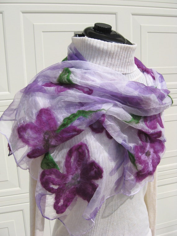 ooak  nuno felted  scarf with purple flowers