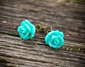 Turquoise rose earrings - turquoise earrings - flower earrings - rose studs - resin earrings - turquoise jewelry