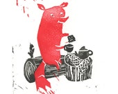 Linocut Mr. Fox, tea and biscuits