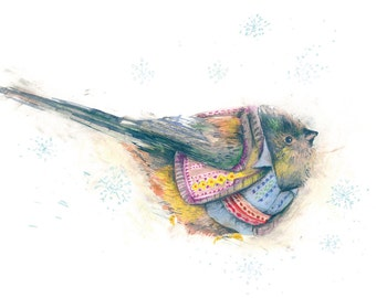 Christmas Postcard Bird 3