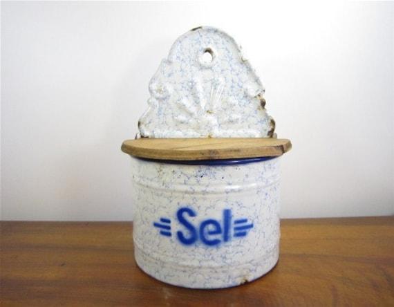 Vintage French Enamelware Salt Box