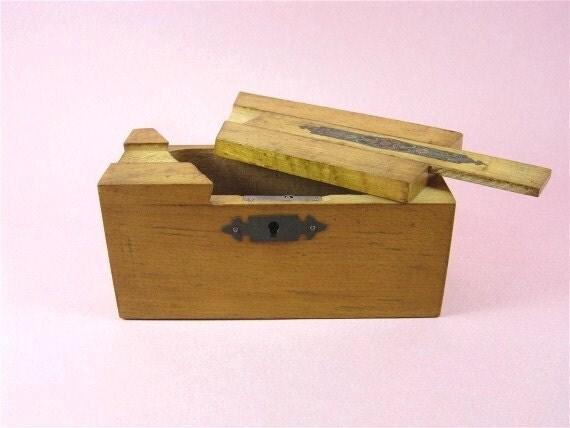Antique Money Box  Wooden Box French Money Box