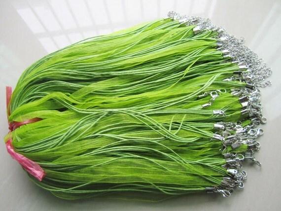 50pcs 17-19 inch adjustable olive green organza ribbon necklace cords