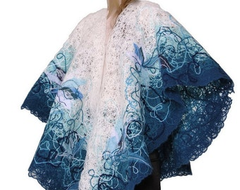 Handmade scarf, shawl, embroidered with beads