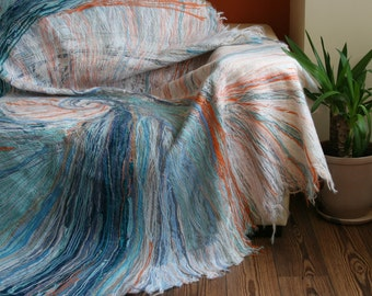Variegated couch cover, handmade throw (blanket)
