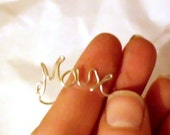 Personalized Name Ring Sterling Silver Wire Word Art Adjustable