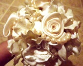 Wedding Bouquet, Vintage inspired, Bridal, Cotton, Satin, Lace, Ivory,  White, Peonies, Roses, pearl Strands Fabric Flower Bouquet, weddings