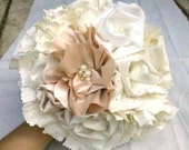 Wedding Bouquet, Rustic, Bridal, Vintage, Cotton, Sample Sale, Champagne, White,  Ivory, Fabric Flower Bouquet, Country, Shabby Chic