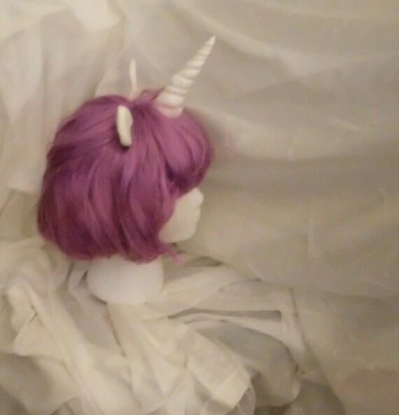 Unicorn Wig Purple Unicorn Horn Costume Wig Short Bob mlp My Little Pony Cosplay  Rarity Twilight Sparkle Princess Luna mlp