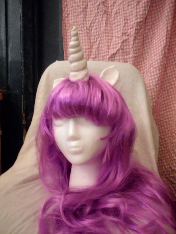 Unicorn Wig Purple Unicorn Horn Costume Wig Long Wavy  My Little Pony Cosplay  Rarity Twilight Sparkle Princess Luna mlp
