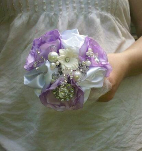 Brooch Wedding Bouquet, Bridal Bouquet, Pearls, Crystals, Fabric Flower Bouquet, weddings, bridesmaid for