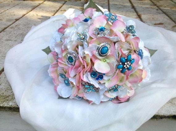 Brooch Wedding Bouquet, Bridal, Bouquets, Vintage Wedding, Custom Color, Rhinestones Crystals Fabric Flower Bouquet, weddings