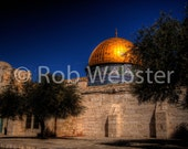 Dome of the Rock 4, 8x10 Fine Art HDR Israel Photo