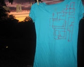 Hand pulled screen printed etch a sketch tshirt (electric blue).