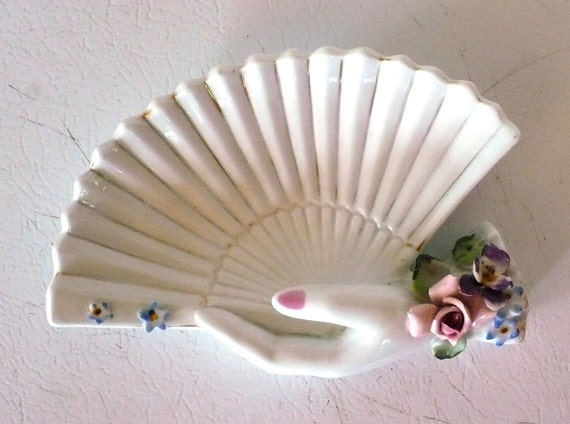 L'Amour Ring Tray Painted Porcelain Fan Floral Hand