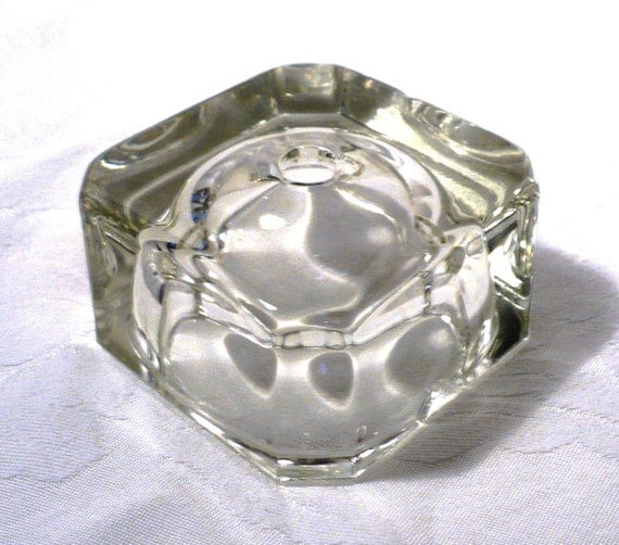 Vintage Clear Lead Crystal Hollowed Block Lamp Base