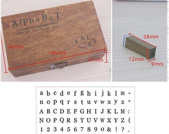 Crazy Sale: Set of 70 PCS Antique Alphabet Rubber Stamps Set with wooden box
