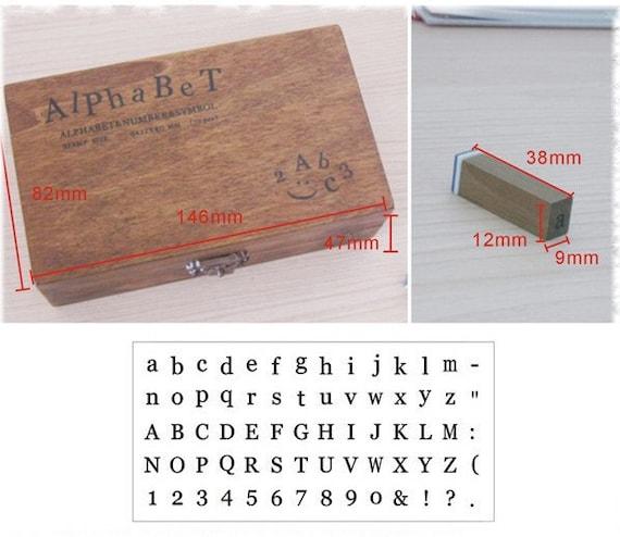 Set of 70 PCS Antique Alphabet Rubber Stamps Set with wooden box