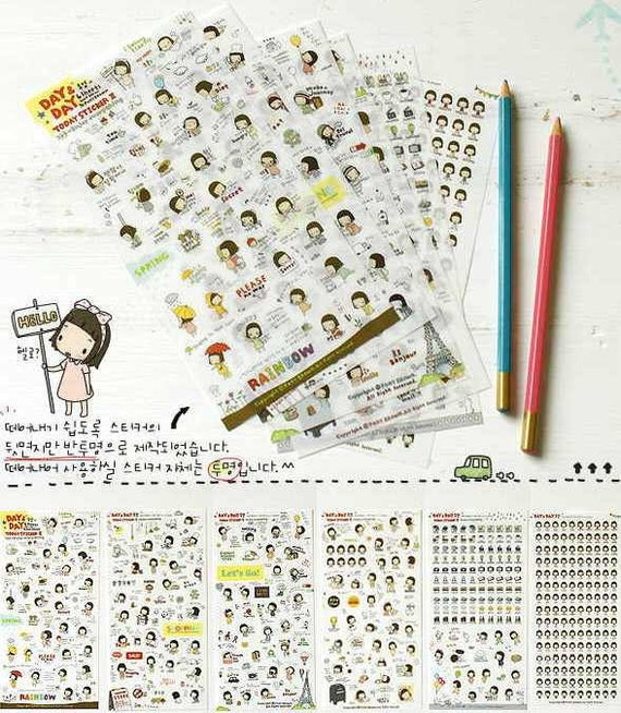 ON SALE - Set of 6 Sheets Day and Day Today Enjoy Everything Kawai Deco Sticker (2500d)