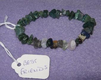 Best Friends Secret Message Gemstone Bracelet in 100% natural Green Aventurine gemstones - one size fits all