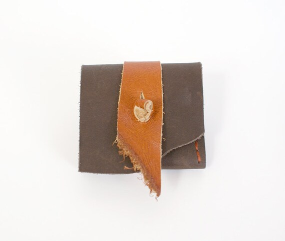 2x2 Business Card Case in Brown Leather with Burnt Orange Detail