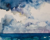 Original seascape watercolor painting-  5x5 inches on paper