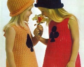 Crochet Dress and Hat PDF Vintage Pattern B020 from WonkyZebraBaby