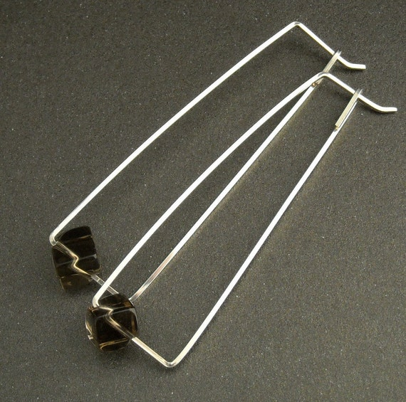 Sterling Silver Hoop Gemstone Earrings - smoky quartz, modern, geometric, long