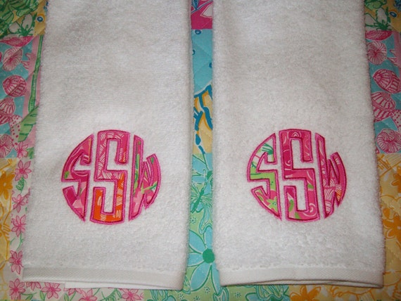 Reserved for hagerty6 monogrammed bath towels and by for Lilly pulitzer bathroom
