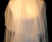 White Two Tier Waist Length Wedding Veil with Cut Edge