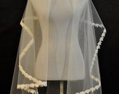 White Fingertip Length Wedding Veil with Lace Edge