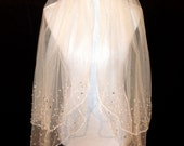 White Fingertip Length Wedding Veil with Scattered Crystal Edge