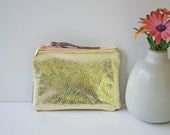 Leather Mini Two Tone Pouch in Metallic Golds with Peach Vintage Zipper OOAK