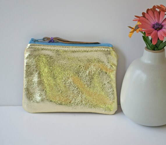 Leather Mini Two Tone Pouch in Metallic Golds with Light Blue Vintage Zipper OOAK