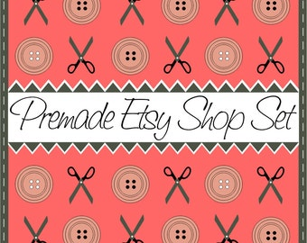 Watermelon Etsy Cover Photo Premade Etsy Shop Set Fashion Clothes Scissors and Buttons Pattern Banners Custom Graphic Design Tailor Style