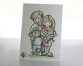 Original ACEO art - cartoon illustration - Your Family Here