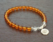 Baltic Amber Healing Lotus Mala Bracelet - Genuine Baltic Amber & Sterling Silver Lotus Mala - Yoga, Buddhist, Prayer Beads, Jewelry
