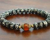 Tibetan Bone Mantra Mala Bracelet - Tibetan Capped Carnelian & Om Mantra Bracelet - Yoga, Buddhist, Meditation, Prayer Beads, Jewelry