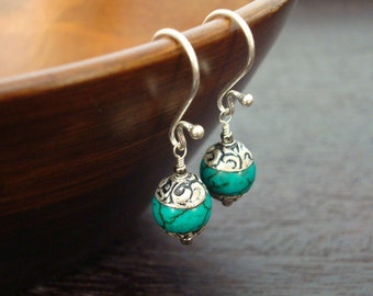 Women's Tibetan Capped Turquoise Earrings - Jewelry, Women's Jewelry, Gemstone Jewelry, Turquoise Earrings