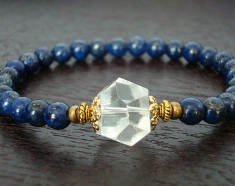 Women's Intuition & Awareness Mala Bracelet // Lapis Lazuli Herkimer Diamond Bracelet // Yoga, Buddhist, Jewelry, Meditation, Prayer Beads