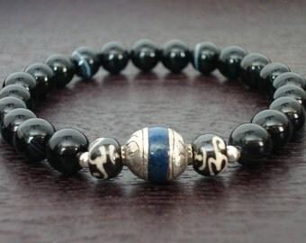Men's Strength & Wisdom Mala Bracelet - Sardonyx and Tibetan Capped Lapis Bracelet - Yoga, Buddhist, Meditation, Jewelry, Prayer Beads