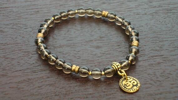 Smoky Quartz Shakti Mala Bracelet - Balancing Smoky Quartz & Gold or Silver Om Mala Bracelet - Yoga, Buddhist, Prayer Beads, Jewelry