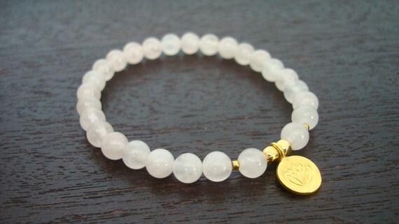 Rose Quartz Heart Chakra Mala Bracelet - Rose Quartz & Gold Lotus Mala Bracelet - Yoga, Buddhist, Meditation, Prayer Beads, Jewelry