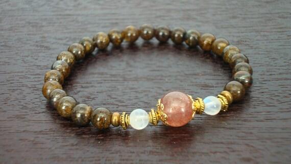 Women's Balance & Stability Mala Bracelet - Pink Muscovite, Moonstone, and Bronzite Mala Bracelet - Yoga, Buddhist, Prayer Beads, Jewelry