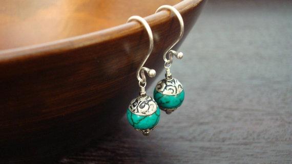Women's Tibetan Capped Turquoise Earrings - Jewelry, Women's Jewelry, Gemstone Jewelry, Turquoise Earrings