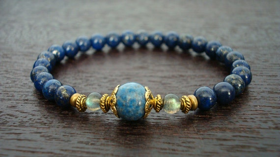 Women's Strength & Intuition Mala Bracelet - Lapis Lazuli and Labradorite Mala Bracelet - Yoga, Buddhist, Jewelry, Meditation, Prayer Beads